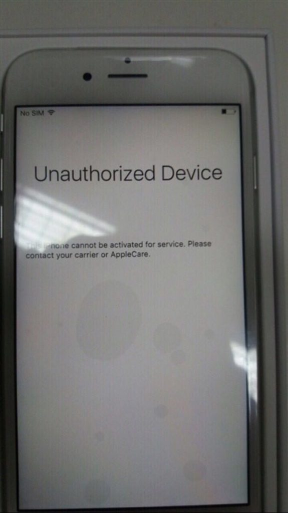 Unauthorized Device - This iPhone cannot be activated for service