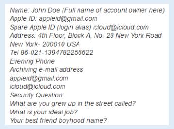 Unlock iCloud 9.3.5-Original owner Contact Info