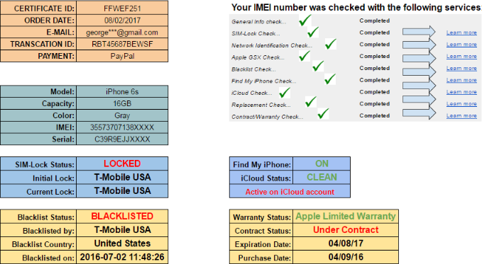 Apple IMEI Check sample report