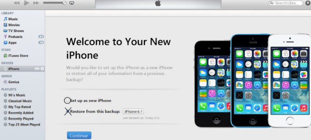 Unlock iPhone in iTunes-Set up as new iPhone