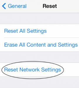 Reset iPhone's Network settings