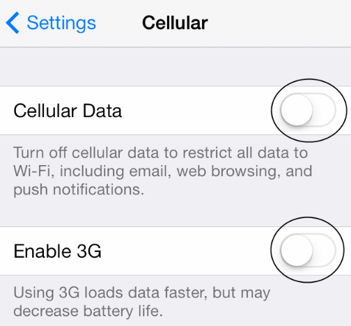 Unlock iPhone in iTunes-Cellular Data-3G