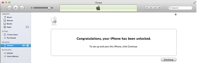 Unlock iPhone in iTunes-Congratulations