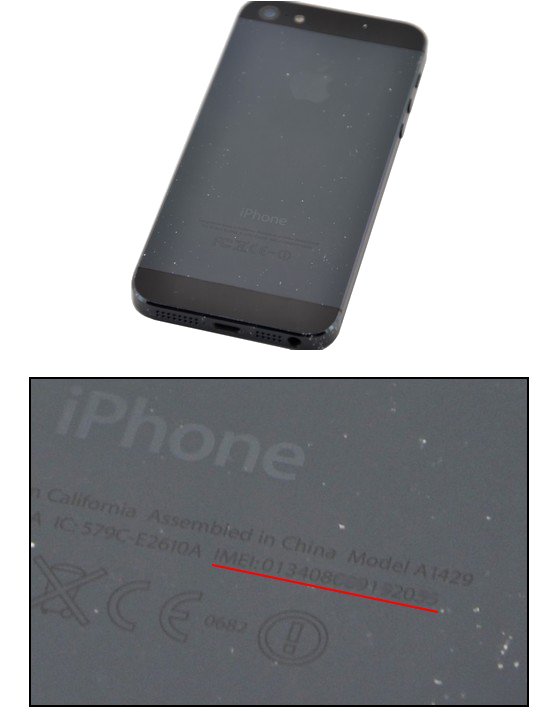 iPhone IMEI Number on the back