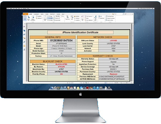 Apple GSX Database-imei check sample