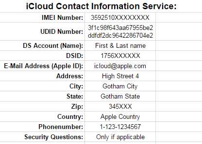 Formal iCloud Lock Removal request-icloud contact information service-report-sample
