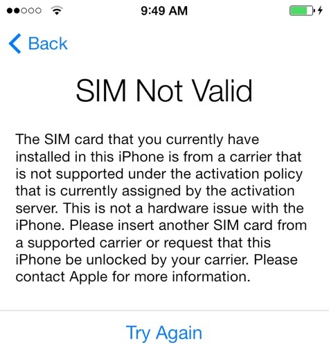 iPhone Lock Status-SIM Not Valid