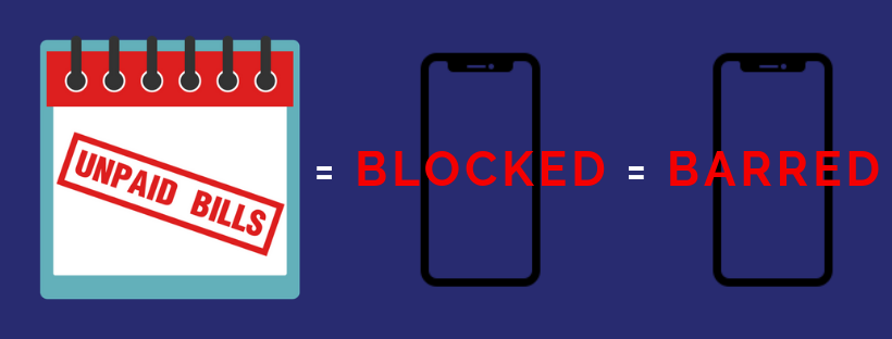 A blocked iPhone with unpaid bills is also called barred iPhone