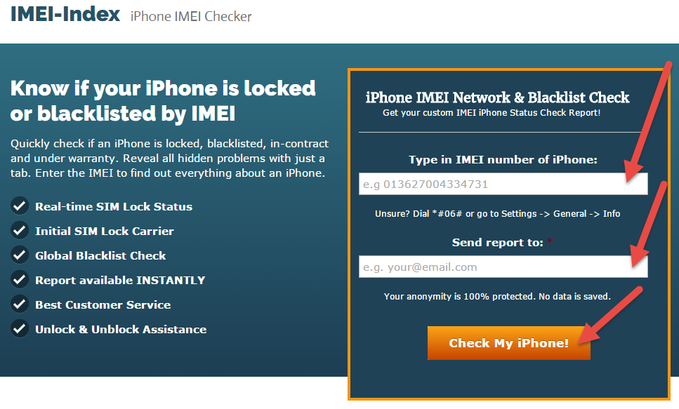 IMEI-Index.com Step 1