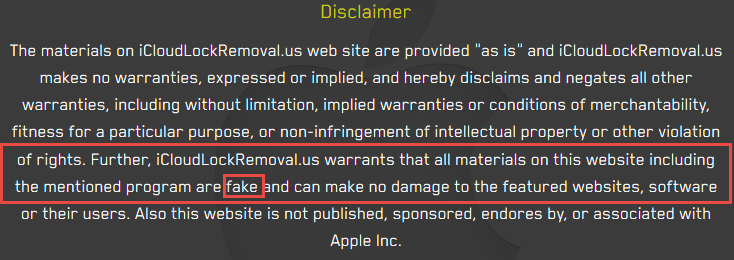This iCloud Removal tool admits that their services don't work