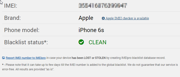 IMEI info of my iPhone 6s