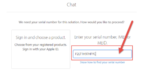 Fill in the serial number of your iPhone