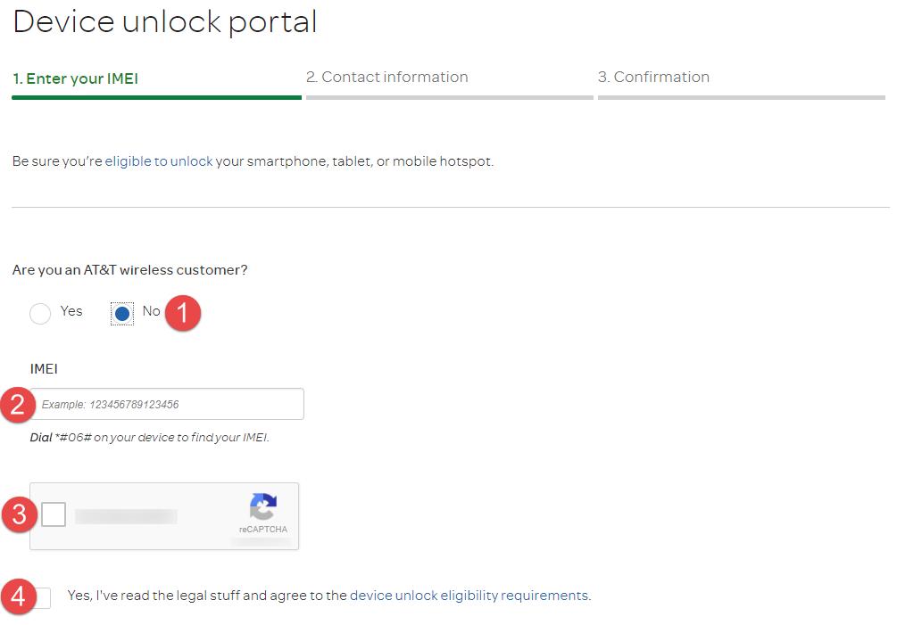 AT&T Unlock Device unlock portal non customer