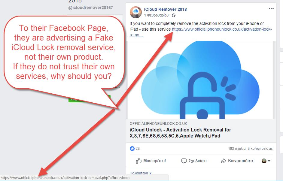 Their Facebook Page redirects you to a different iCloud Removal Free tool