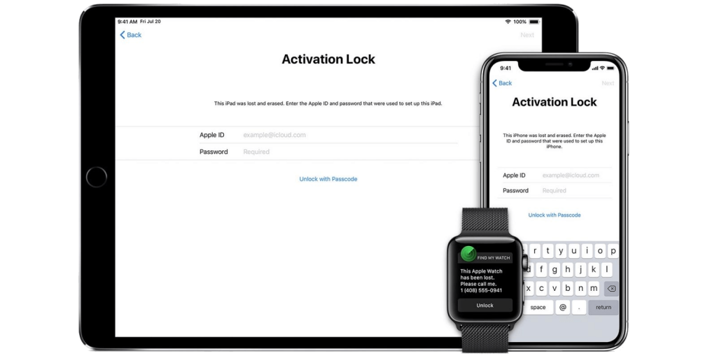 iCloud Activation Lock Screen on iPhone, iPad and Apple Watch