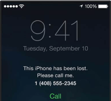 Original owner's phone number on the Activation Lock screen