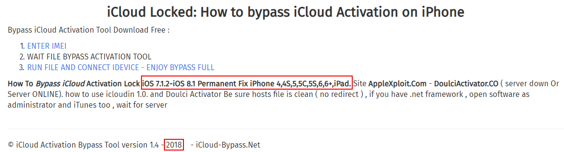 Bypass iCloud Activation Lock software