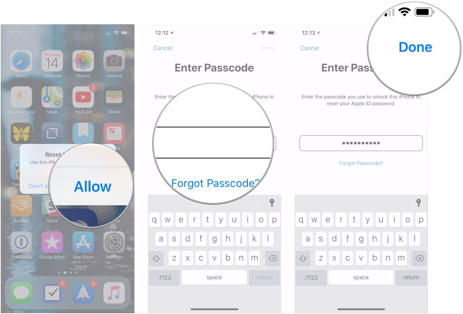 forgot Apple ID password-enter passcode