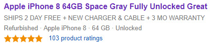 Second Product Rating on eBay