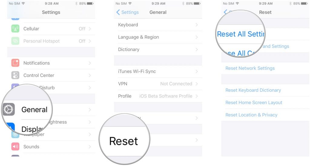 iPhone Reset ALL Settings
