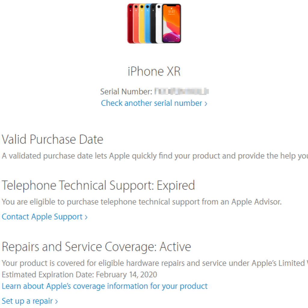 What can I find out from Apple Check Coverage page