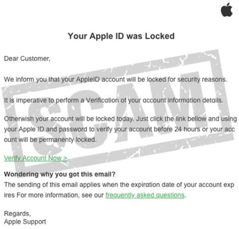 Apple ID Locked email phishing scam