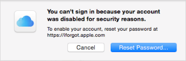 Apple ID account disabled for security reasons
