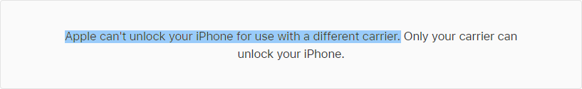 Apple Support about Apple iPhone Unlock